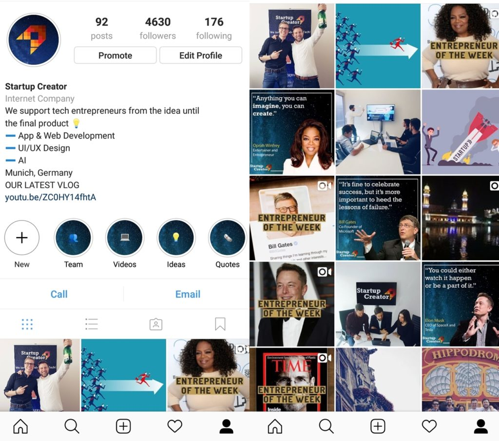 Startup Creator Instagram